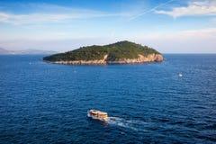 Lokrum海岛在日落的克罗地亚 库存照片