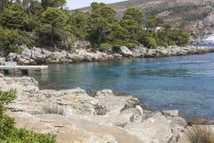 Arrive platform of Lokrum Island, Croatia. LOKRUM, CROATIA - AUGUST 22 2017: arrive platform of Lokrum Island, Croatia royalty free stock images