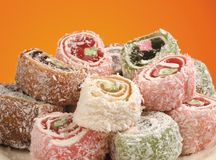 Lokum. Turkish delight or rahat lokum assortment Stock Photos