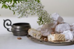 Lokum and nougat - Turkish sweets Royalty Free Stock Photography