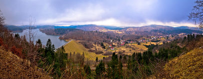 Lokvarsko lake and valley panoramic view Stock Photos