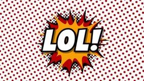 LOL - анимация стиля воздушных шаров речи слова шуточная иллюстрация вектора