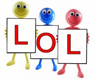 LOL abbreviation on white background. The abbreviation for laughing out loud written on 3 seperate advert boards being held by 3 diffirent coloured smilies on a stock photography