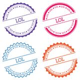Lol badge isolated on white background. Flat style round label with text. Circular emblem vector illustration Royalty Free Stock Photos