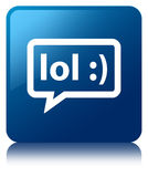 LOL bubble icon blue square button Royalty Free Stock Images