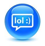 LOL bubble icon glassy cyan blue round button Royalty Free Stock Photos