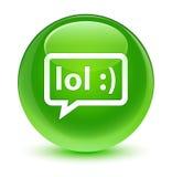 LOL bubble icon glassy green round button Stock Photos