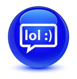 LOL bubble icon glassy blue round button Royalty Free Stock Photo