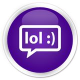 LOL bubble icon premium purple round button Stock Photo