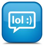 LOL bubble icon special cyan blue square button Stock Photo