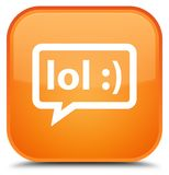LOL bubble icon special orange square button Stock Image