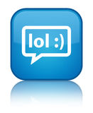 LOL bubble icon special cyan blue square button Royalty Free Stock Photo