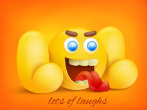 LOL concept illustration with yellow emoji character. Stock Image