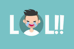 LOL conceptual illustrated sign. laughing out loud boy Royalty Free Stock Photos