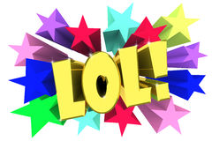 Lol. Golden word among bright multi colored stars Royalty Free Stock Images