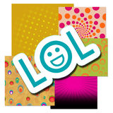 Lol Over Various Colorful Backgrounds Photo stock
