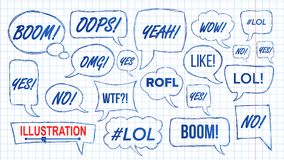 Lol Speech Bubbles Skech Set-Vector Pretsymbool emotie Grappig gezicht De uitdrukkingen overhandigen Getrokken Lol Stickers tiene vector illustratie