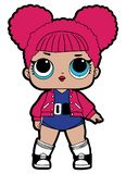 Lol Doll Design. Cute baby girl. Cute pink baby Vector royalty free illustration