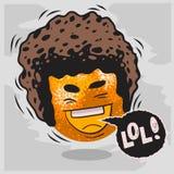 Lol udziały śmiechy Z Roześmianą pomarańcze Z Afro fryzury Śmiesznymi owoc Zdjęcia Stock