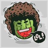 Lol udziały śmiechy Z Roześmianym arbuzem Z Afro fryzury Śmiesznymi owoc Obraz Royalty Free