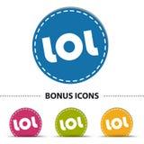 LOL Web Button - bunte Vektor-Illustration - lokalisiert auf Weiß Lizenzfreies Stockbild