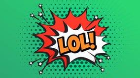 LOL Word Retro Cartoon Comic burbujea las expresiones móviles del estilo almacen de metraje de vídeo