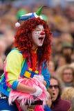 Loldiers van Odin-clowns bij de anti-racism verzameling in Helsinki, Finland stock foto