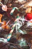Lolipop on the Cristmas tree Royalty Free Stock Photos