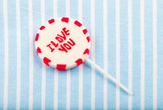 Lolipop that says. I love you Royalty Free Stock Photo