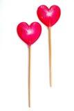 Lolipop Series 02. Pair of Sweet Heart Lolipop on white background Stock Photo