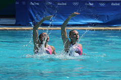 Lolita Ananasova and Anna Voloshyna of Ukraine compete during synchronized swimming duets free routine preliminary of the Rio 2016 Stock Images
