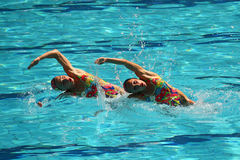 Lolita Ananasova and Anna Voloshyna of Ukraine compete during synchronized swimming duets free routine preliminary of the Rio 2016 Stock Photography