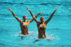Lolita Ananasova and Anna Voloshyna of Ukraine compete during synchronized swimming duets free routine preliminary of the Rio 2016 Royalty Free Stock Images