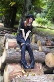 Lolita. Beautiful redhead model posing as a maid lolita stock photography