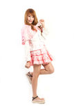 Lolita cosplay woman white backboard. Stock Images