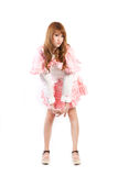 Lolita cosplay woman white backboard. Royalty Free Stock Photo