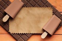 Lollies льда, шоколадный батончик и ярлык бумаги Стоковые Изображения RF