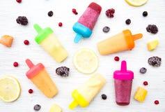 Lollies de gelo do batido e ingredientes congelados da baga Imagens de Stock Royalty Free