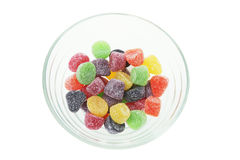 Lollies in Glass Bowl. On White Background Royalty Free Stock Photos