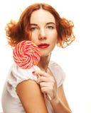 lollipop αρκετά γυναίκα Στοκ Εικόνες