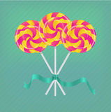 Lollipop με την κορδέλλα Στοκ εικόνα με δικαίωμα ελεύθερης χρήσης