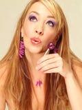 lollipop πορφυρή γυναίκα στοκ εικόνα