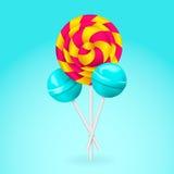 lollipop Ρόδινη και κίτρινη σπειροειδής καραμέλα Στοκ Φωτογραφίες