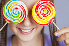 lollipop девушки счастливый Стоковая Фотография