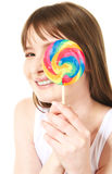 Lollipop. Portrait of teenage girl holding big lollipop Royalty Free Stock Photos