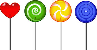 Lollipop. Four lollipop over white. EPS 8 Stock Photo