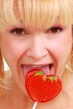 lollipop γυναίκα Στοκ Εικόνες