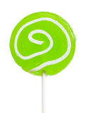 Lollipop. Macro view of green lollipop isolated over white background Royalty Free Stock Photos