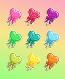 Lollipop with bow, colorful icons set. Cartoon candy stickers Royalty Free Illustration