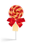 Lollipop with bow and tag Royalty Free Stock Photography